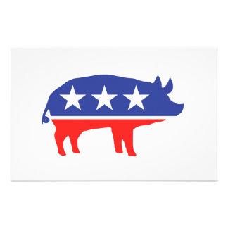 政党のブタのマスコット 便箋