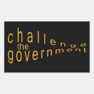 政府に挑戦して下さい 長方形シール