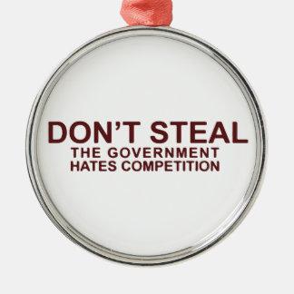 政府の憎悪の競争を盗まないで下さい シルバーカラー丸型オーナメント