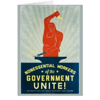 政府の非本質的な労働者は結合します カード