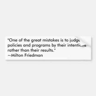 政府計画のミルトン・フリードマン バンパーステッカー