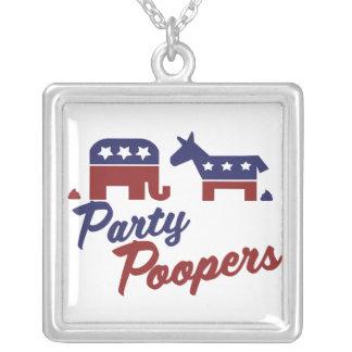 政治パロディのパーティーのpoopers シルバープレートネックレス