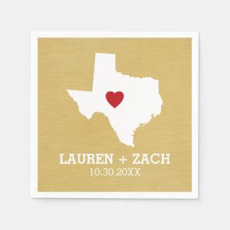 故郷の州の地図の芸術-カスタムな結婚のテキサス州 スタンダードカクテルナプキン