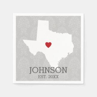 故郷の州の地図の芸術-名前をカスタムするテキサス州 スタンダードカクテルナプキン