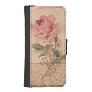 敏感でビクトリアンなピンクのバラ iPhoneSE/5/5sウォレットケース