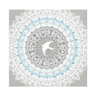 敏感で白いレースの曼荼羅のデザイン キャンバスプリント