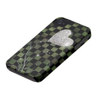 敏感なハート-チェッカーパターン Case-Mate iPhone 4 ケース
