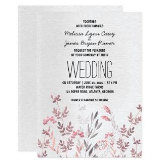 敏感なピンクの花の結婚式招待状 カード