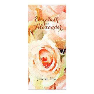 敏感なモモのバラの水彩画メニュー ラックカード
