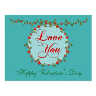 敏感な愛バレンタインのつる植物 ポストカード