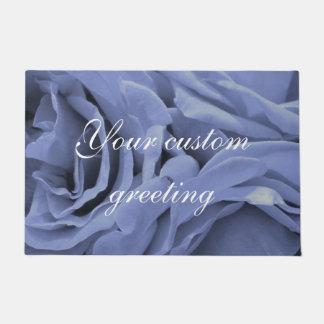 敏感な淡いブルーの灰色のバラの花の写真 ドアマット