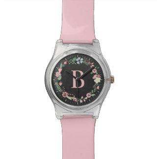 敏感な花のリースのカスタムのモノグラム 腕時計