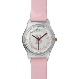 敏感な花のリースのピンクのモノグラム 腕時計