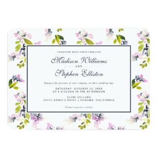 敏感な花の水彩画-結婚式 カード