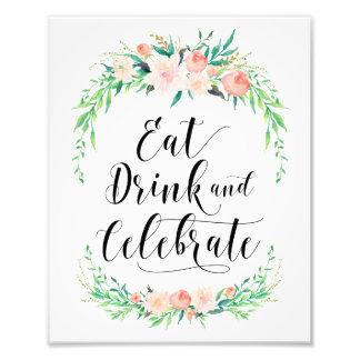 敏感な花束は飲み物を食べ、プリントを祝います フォトプリント