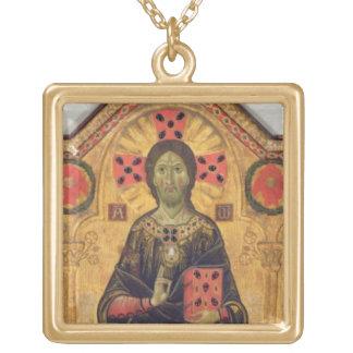 救い主、ヴァージンおよび聖者1271年(テンペラ ゴールドプレートネックレス