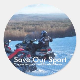 救って下さい私達のスポーツ(スノーモービルで行くこと)を ラウンドシール