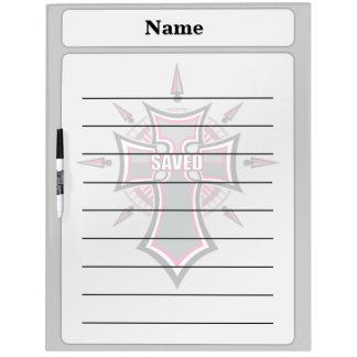 救われたキリスト教のピンクの十字 ホワイトボード