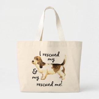 救助の小さいバセット犬Griffon Vendéen ラージトートバッグ