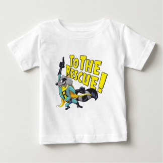 救助へのスーパーヒーローのアライグマ ベビーTシャツ