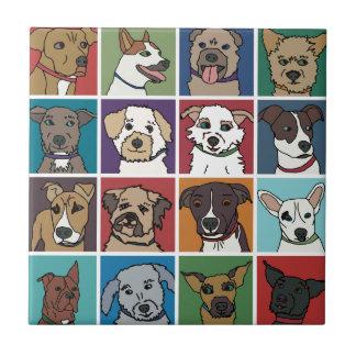 救助犬の漫画 正方形タイル小