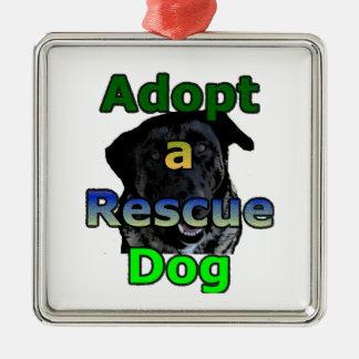 救助犬を採用して下さい メタルオーナメント