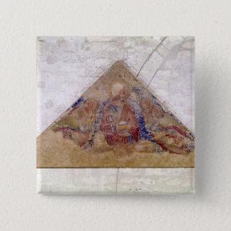 救助者の天恵1341年を描写するTympanum 5.1cm 正方形バッジ