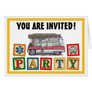 救急車の誕生日のパーティの招待状 カード