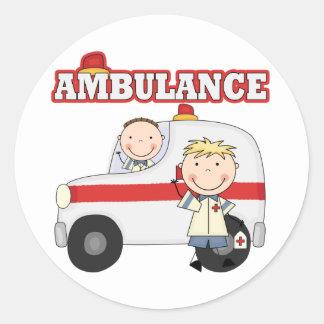 救急車のTシャツおよびギフト ラウンドシール