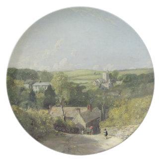 教会およびVIのOsmingtonの村の眺め プレート