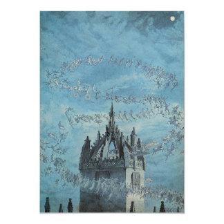 教会の塔ハロウィンのまわりで飛んでいる幽霊 カード