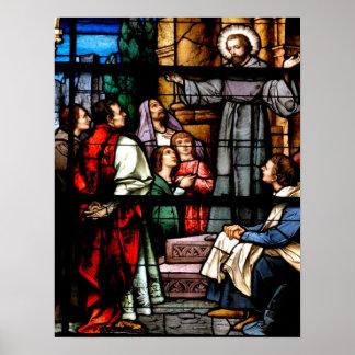 教会の汚れのガラス窓 ポスター