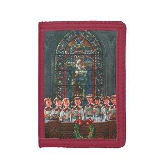 教会の聖歌隊を歌っているヴィンテージのクリスマスの子供 ナイロン三つ折りウォレット