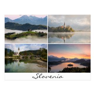 教会コラージュの記念品とのスロベニアの景色 ポストカード
