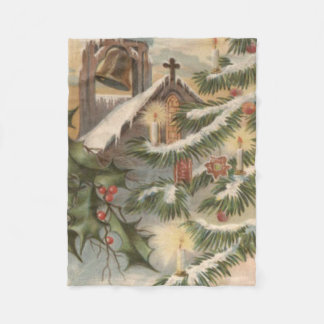 教会ヒイラギのクリスマスツリーの蝋燭のオーナメント フリースブランケット