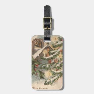 教会ヒイラギのクリスマスツリーの蝋燭のオーナメント ラゲッジタグ