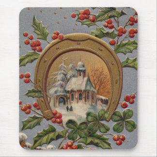 教会ヒイラギ4の葉のクローバーの金ゴールドの蹄鉄 マウスパッド