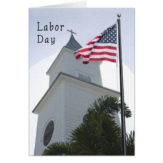 教会及び旗が付いている宗教労働者の日カード カード
