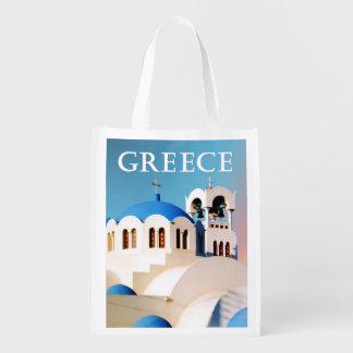 教会屋根および鐘桜ギリシャ エコバッグ
