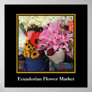 教会広場のEcuadorianの花の市場 ポスター