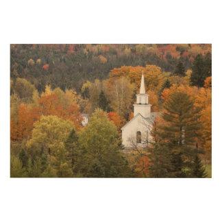 教会、ヴァーモント、米国との秋の景色 ウッドウォールアート