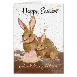 教女、水彩画のバニーウサギおよびイースターE カード