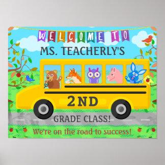 教室のかわいい動物バスのための先生の喜ばしい徴候 ポスター
