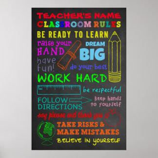 教室の規則-名前入りな先生のギフト ポスター