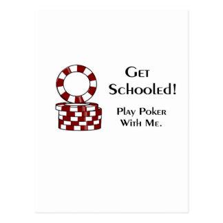 教育されたトランプのポーカーの賭博項目を得て下さい ポストカード