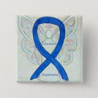 教育の天使の青い認識度のリボンの芸術Pin 5.1cm 正方形バッジ