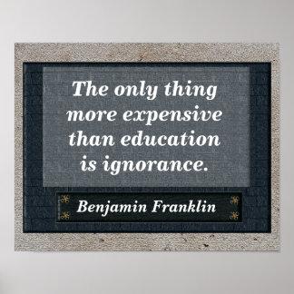 教育の引用文-ベンジャミン・フランクリン ポスター