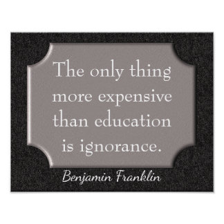 教育-ベンジャミン・フランクリンの引用文-プリント ポスター
