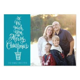 教養がある木のクリスマスの写真の挨拶状 カード