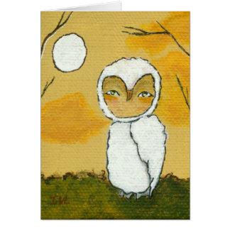 散歩を均等にすること、お洒落な森林白いフクロウの芸術 カード